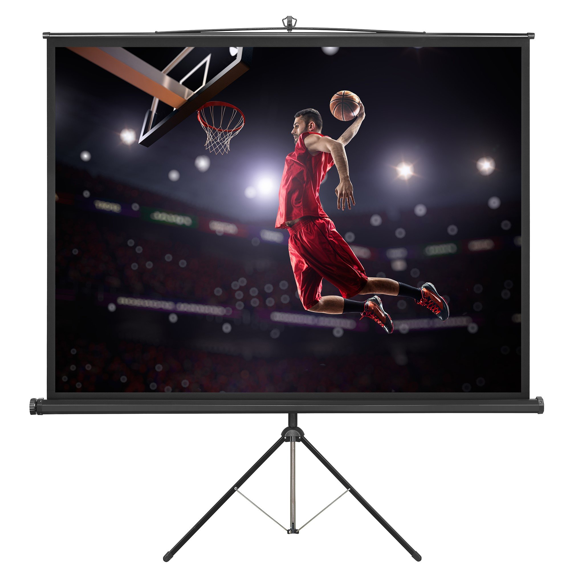 VonHaus 84 Inch Projector Screen - Tripod Included - TV / Home Theater / Movie / Presentation Platform - 4:3 Aspect Ratio Indoor Portable Projection Screen - Suitable for LED, LCD and DLP Projectors