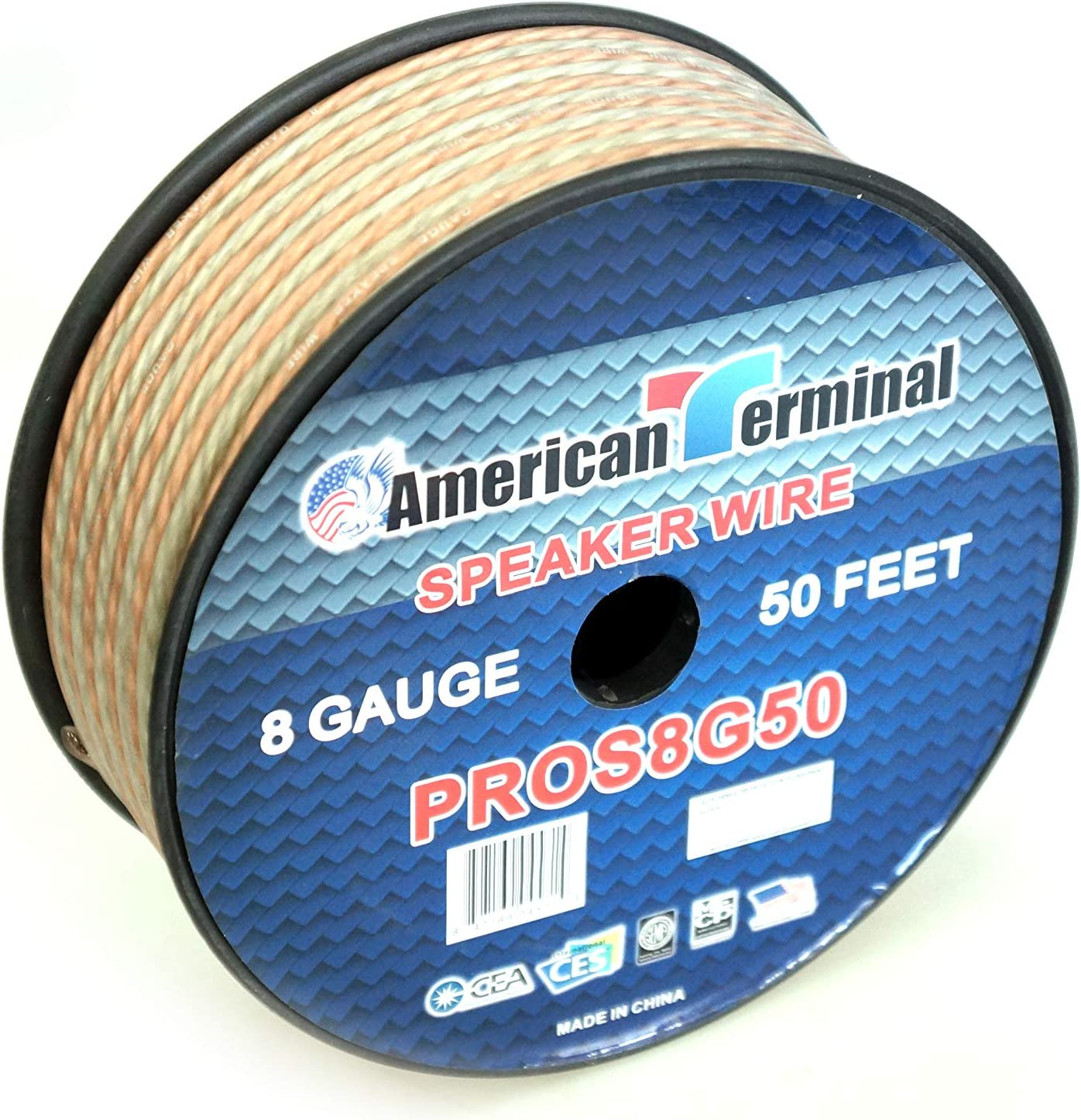 American Terminal PROS8G50 50 ft of 8 Gauge Pro Series Clear Speaker Wire
