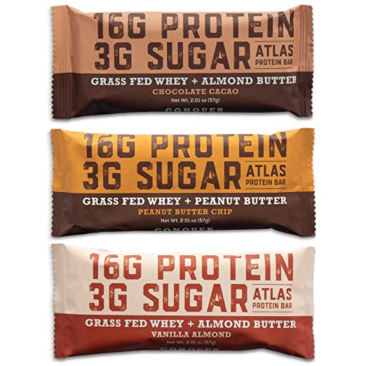 Atlas Protein Bar - Keto Friendly, Variety Pack (9-Pack) - Grass Fed Whey, Low Sugar, Clean Ingredients, All Natural, Gluten Free, Soy Free, and GMO Free best paleo bars