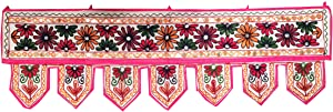 Indian Handmade Traditional Embroidered Toran Cotton Thoranam Door Living Room Decor Bandanwar Home Valance Decorations Window Hanging Bohemian Wall Ethnic Decorative Vintage (Multi)