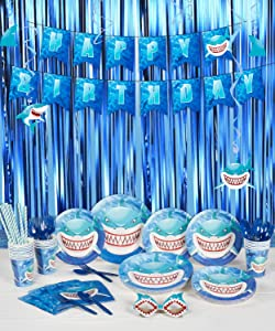 """Decorlife Shark Birthday Party Decorations, Party Supplies for Boys, Total 147PCS, Including Birthday Plates and Cutlery Set, 54'' x 108"""" Tablecloth, Fringe Curtains, Hanging Swirls, Pre-strung Happy Birthday Banner, Shark Paper Glasses – Serves 16"""