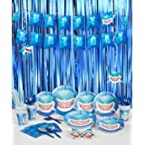 Decorlife Shark Birthday Party Decorations, Party Supplies for Boys, Total 147PCS, Including Birthday Plates and Cutlery Set,