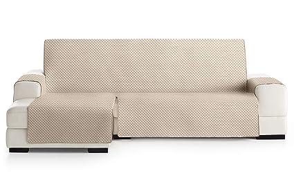 JM Textil Funda Cubre Sofá Chaise Longue Elena, Protector para Sofás Acolchado Brazo Izquierdo. Tamaño -290cm. Color Marfil 01 (Visto DE Frente)