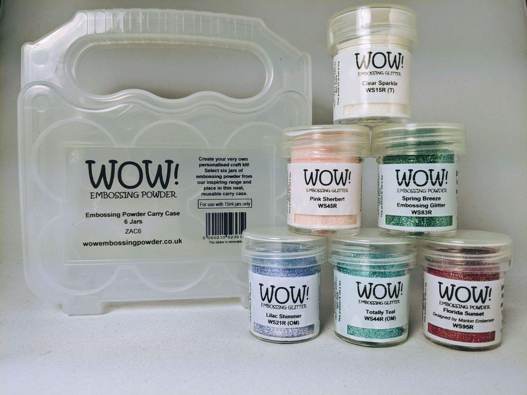 Wow! Embossing Powder and Glitter Sparkle in Pastel Colors 6 - Pack Kit and Clear Carrying Case - Bundle 7 Items
