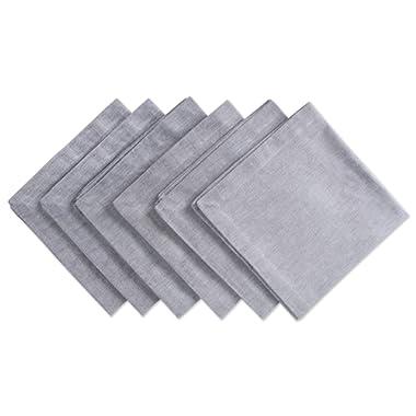 DII CAMZ36970 100% Cotton, Oversized Basic Everyday 20x20 Napkin Set of 6, Chambray Gray