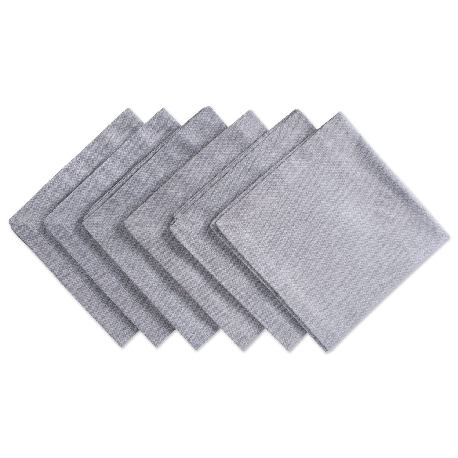 DII Chambray Pastel Basic Cloth Napkins for Everyday Place Settings with Woven Denum Look, Perfect for Weddings, Buffets, Parties, Formal Meals (20x20 Large, Set of 6) Gray by DII