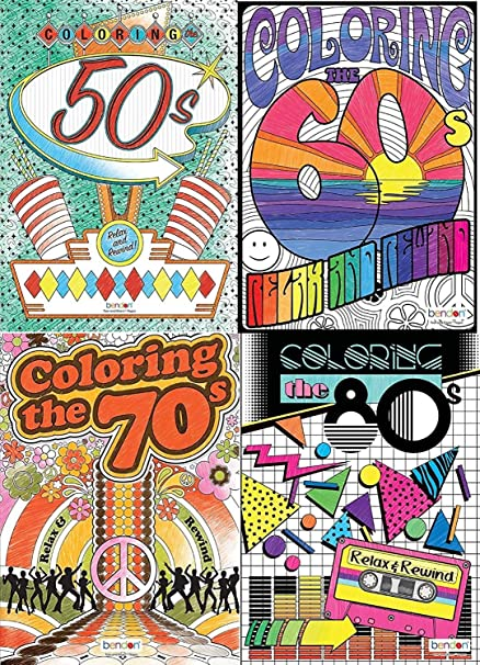 - Amazon.com: Bendon Advanced Coloring Book 4 Pack By Decades (50's, 60's,  70's And 80's): Toys & Games