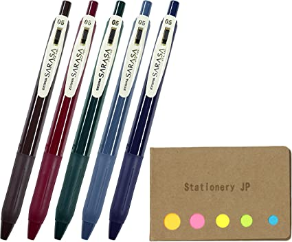JJ15-5C-VI2 with Original Sticky Notes Value Set Zebra Sarasa Clip 0.5 5 Vintage Color Set - Push Clip Ballpoint Gel Pen with High Speed Dry Ink Technology
