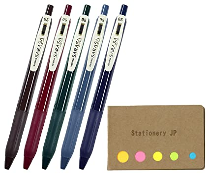 2fc8e2111387 Amazon.com: Zebra Sarasa Clip 0.5 Retractable Gel Ink Pen, Rubber Grip, 0.5  mm, Vintage Colors, 5 Color Ink, Sticky Notes Value Set: Office Products