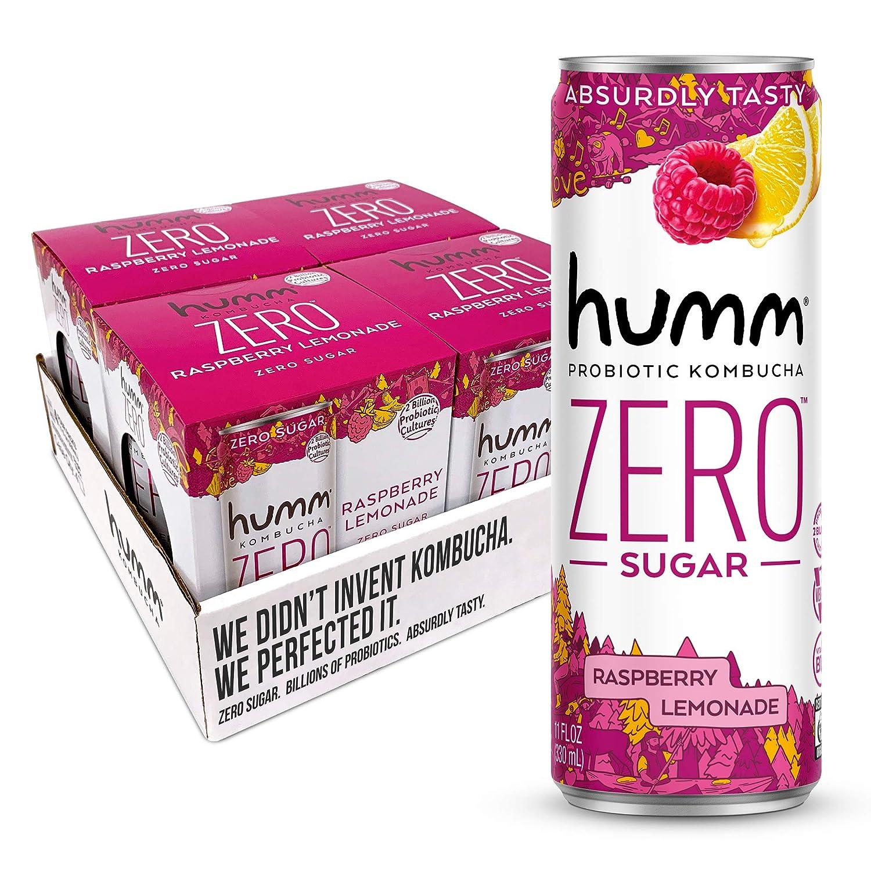Humm Probiotic Kombucha Zero Sugar Raspberry Lemonade - No Refrigeration Needed, Keto-Friendly, Organic, Vegan, Gluten-Free - 11oz Cans (16 Pack)