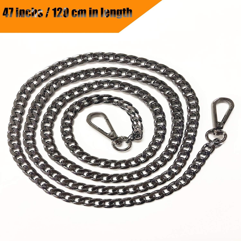 "Gold 1 PCS DIY Metal Shoulder Cross Body Bag Chains for Women Handbag Wallet Clutch Satchel Tote Bag Purse TSJ 47/"" Replacement Flat Chain Strap with Buckles"