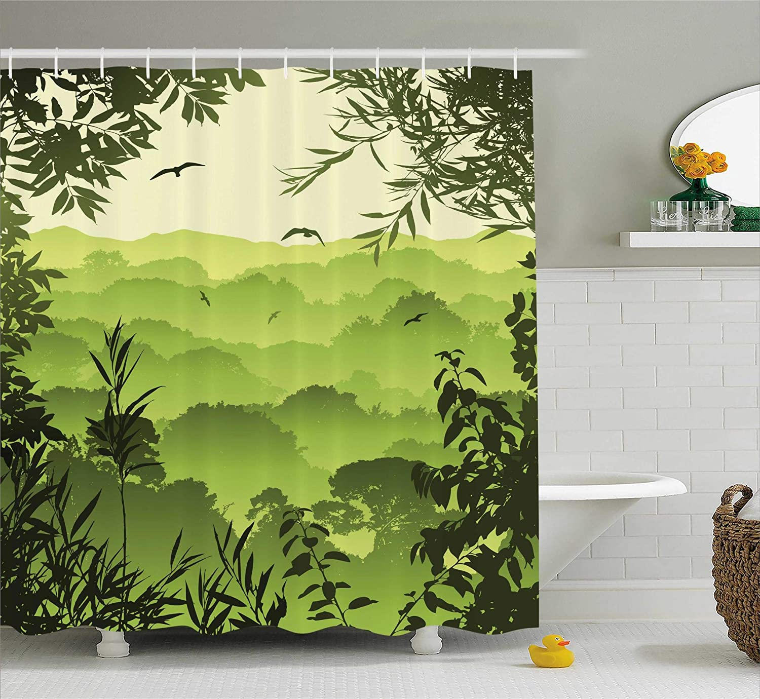 Brown Green Yellow sc/_15427/_Gothic/_06.21/_long Polyester Fabric Bathroom Shower Curtain Dark Night in the Forest with Full Moon Horror Theme Grunge Style Halloween Photo 75 Inches Long Ambesonne Gothic Decor Collection