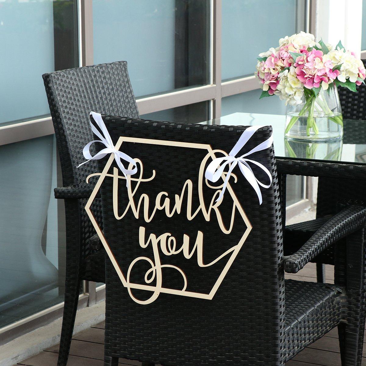 BESTOYARD Wedding Chair Banner Thank You Wood Sign Wedding Photo Booth Prop Wedding Party Decoration by BESTOYARD (Image #8)