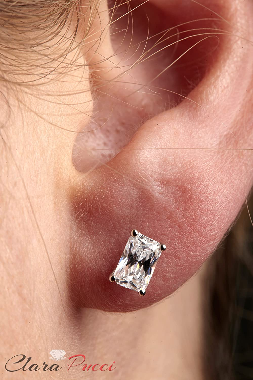 1.0 ct Emerald Cut Simulated Diamond CZ Solitaire Stud Earrings in 14k White Gold Screw Back