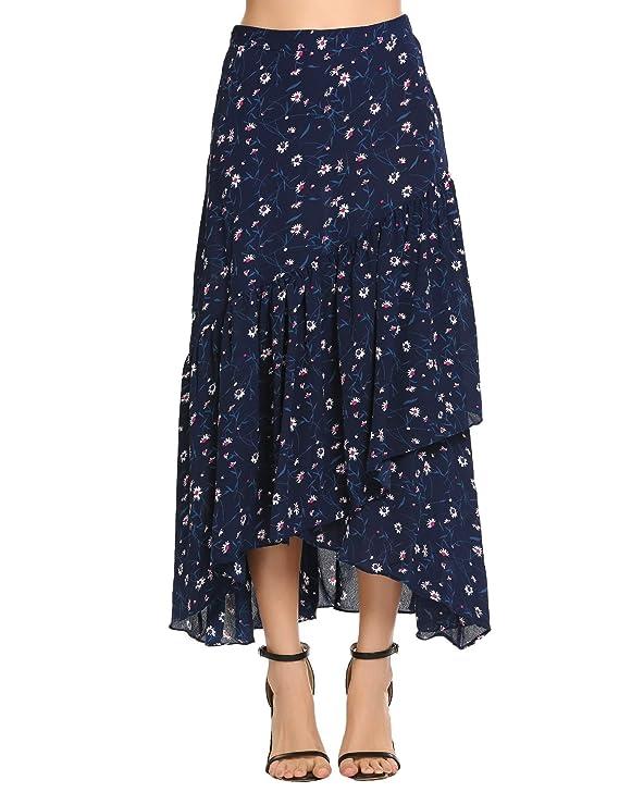 Zeagoo Women A-Line Irregular High-Low Ruffle Pleated Stripe Casual Flare Maxi Skirt(Navy Blue,L)