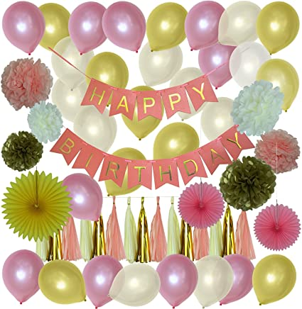 Ozic 55 Pcs Happy Birthday Party Decorations Pink And Gold Reusable Banner Balloons