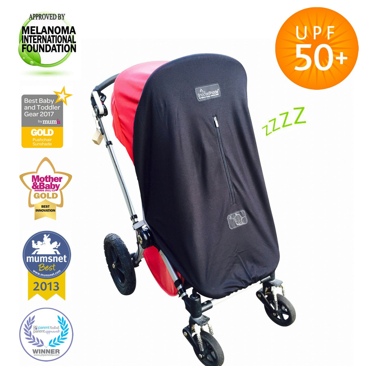 Baby Sun Shade and Blackout Blind for Strollers | Blocks 99% of UV | Breathable and Universal fit | SnoozeShade Original - Limited Edition (Gray Trim)