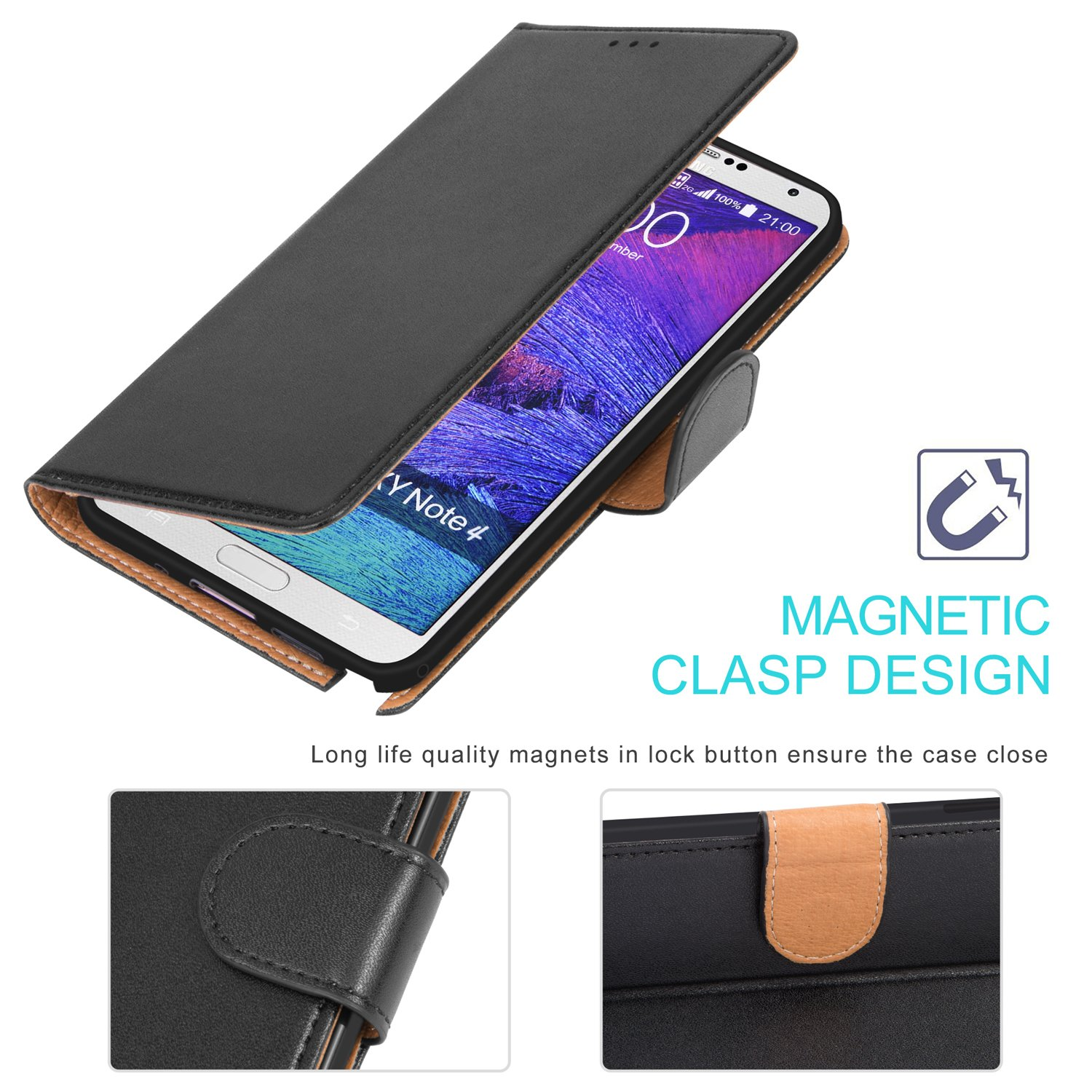 Aicoco Galaxy Note 4 Case Flip Cover Leather Wallet Goospery Samsung J3 2017 Pro Canvas Diary Orange Phone For Black Cell Phones Accessories