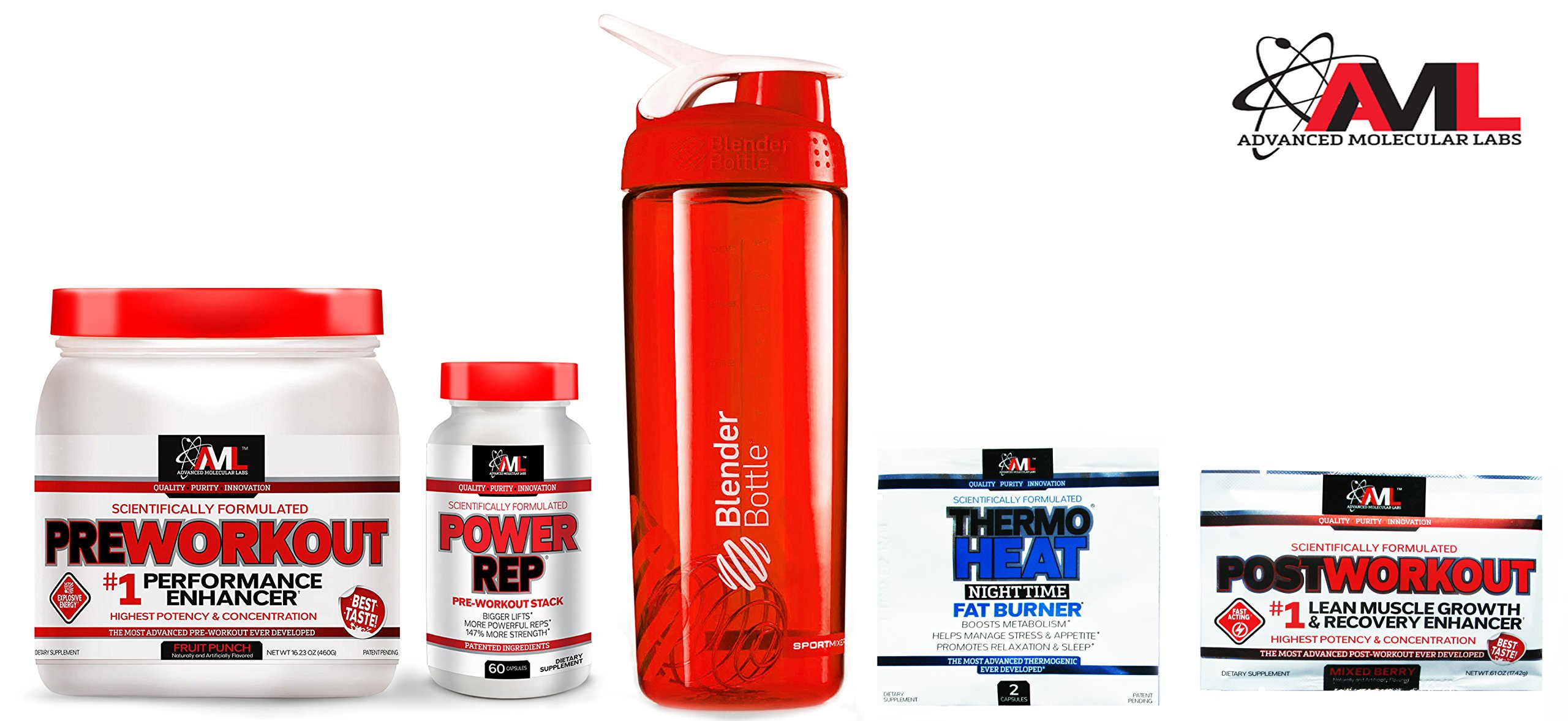 Advanced Molecular Labs Preworkout Stack, Fruit Punch Powder 18.34oz 520 Grams & Power Rep 60 Caps , with 8g Citrulline Malate, 5g Creatine - WITH FREE BLENDER BOTTLE & 2 TRAVEL SAMPLES by Advanced Molecular Labs (Image #3)