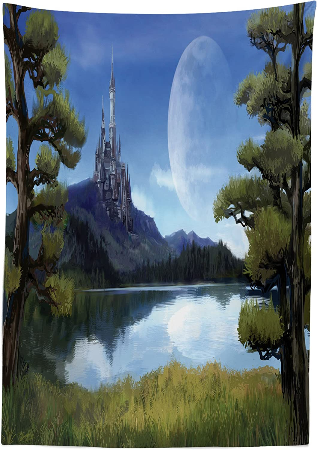 Amazon Com Ambesonne Fantasy Tablecloth Moon Surreal Scene With Riverside Lake Forest And Medieval Castle On Hill Art Dining Room Kitchen Rectangular Table Cover 52 X 70 Green And Blue Home Kitchen