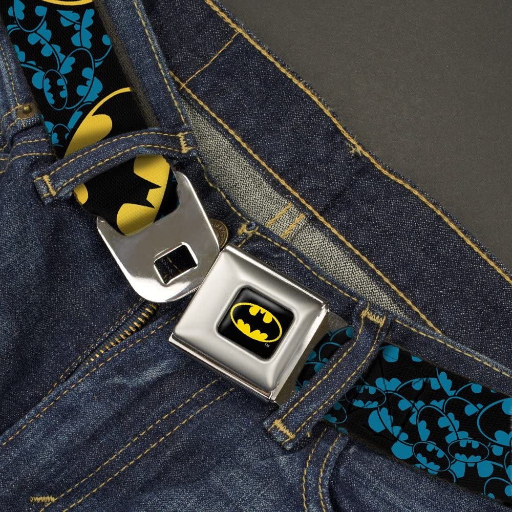 Buckle-Down Mens Seatbelt Belt Batman Kids 20-36 inches in length Bat Signals Stacked c Blue//Black//Yellow,1.0 wide
