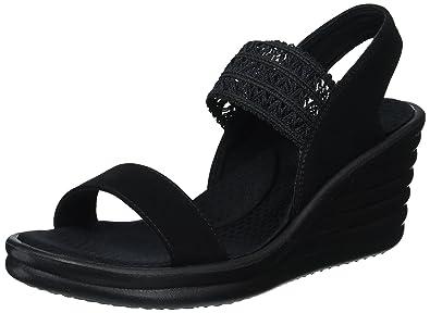 d43a59cfe5 Skechers Cali Women's Rumbler Wave-Drama Diva Wedge Sandal,black/black,6