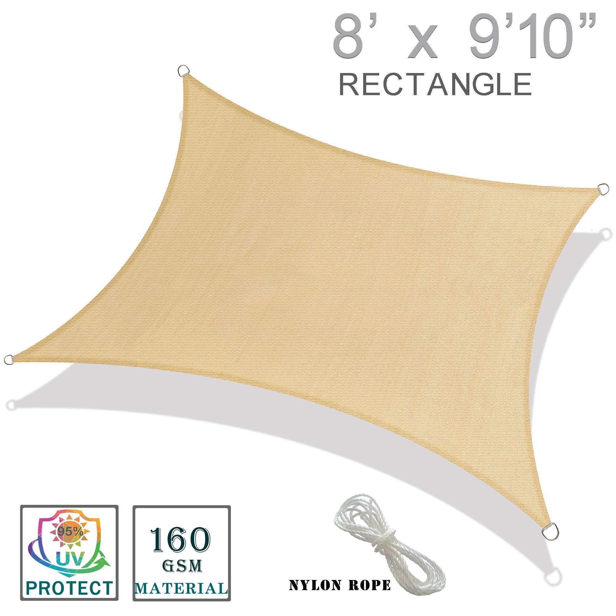 """SUNNY GUARD 8'x 9'10"""" Sand Rectangle Sun Shade Sail"""