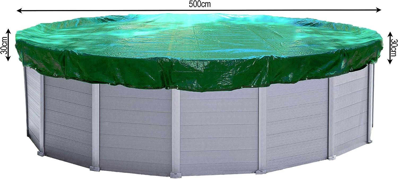 QUICK STAR Cubierta de piscina de invierno redonda 180g / m² para piscina 460 - 500 cm Dimensión de lona ø 560 cm Verde