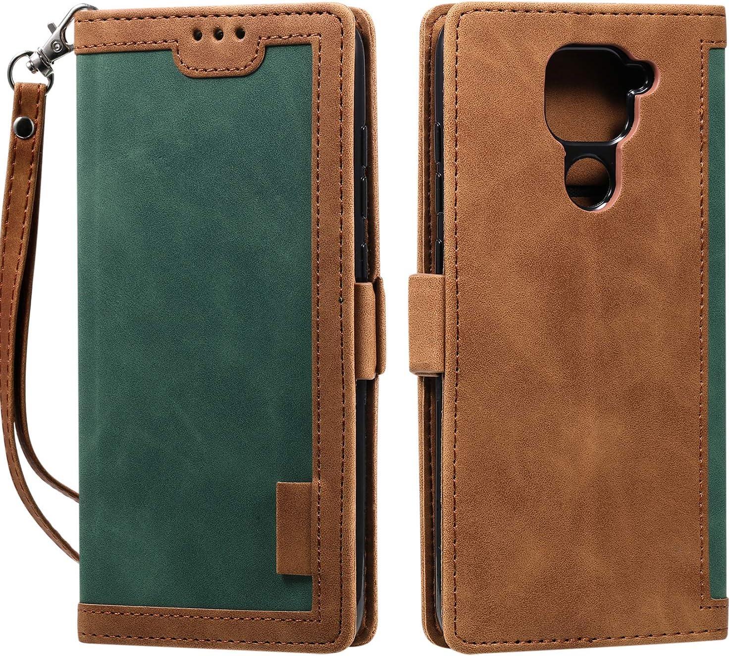 Abuenora Funda para Xiaomi Redmi Note 9, Carcasa Libro con Tapa Flip Case Antigolpes Cartera PU Cuero con Soporte Plegable Oficial Vintage Clasica Empalme Funda Color Verde Intenso