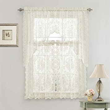 GoodGram Lena Floral Lace Complete 3 Pc. Cottage Kitchen Curtain Tier &  Swag Valance Set - Assorted Colors (Beige)
