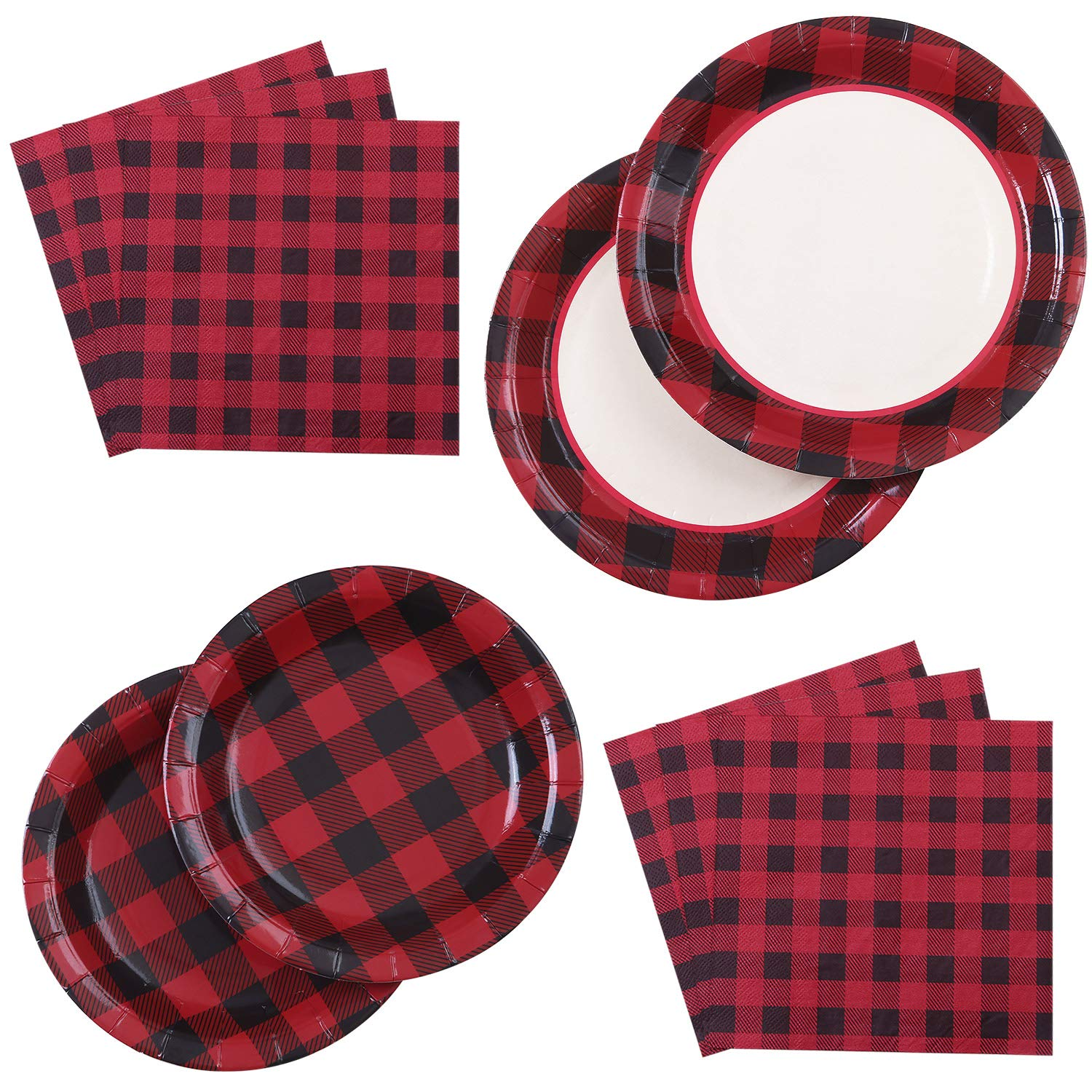Aneco 98 Pieces Red and Black Plaid Party Supplies Party Tableware Paper Plates and Napkins for 24 Guests by Aneco
