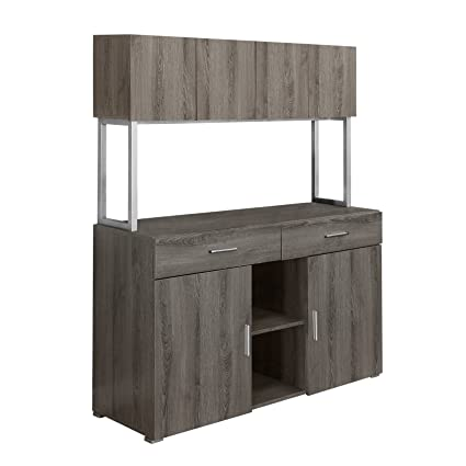 Superbe Monarch Specialties Dark Taupe Reclaimed Look Office Storage Credenza,  48 Inch