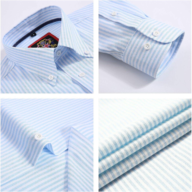 Camisa de manga larga para hombre, cuello inglés Oxford con botón ...