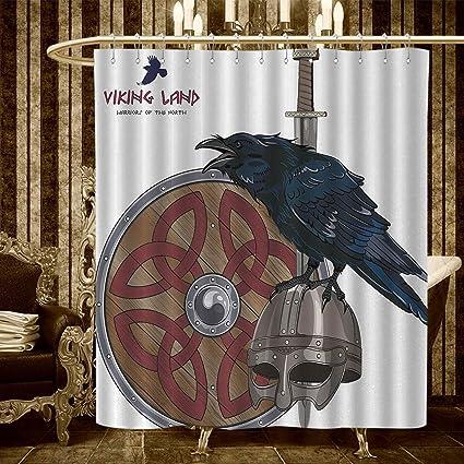 Homecoco Viking Shower Curtains Fabric Raven On Steel Helmet Nordic Sword Shield Warfare Scandinavian Army Medieval