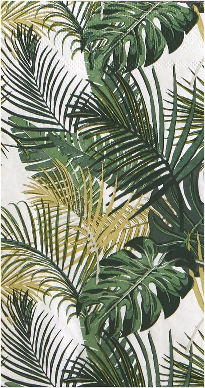 Pack of 16 Palm Leaf Guest Size Paper Napkin Green 7.75