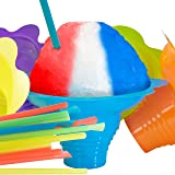 Super Cute Flower Cups and Spoon Straws Combo 10Pk. Colorful, Leak Proof Small Bowls Are Perfect Snow Cone Supply for…