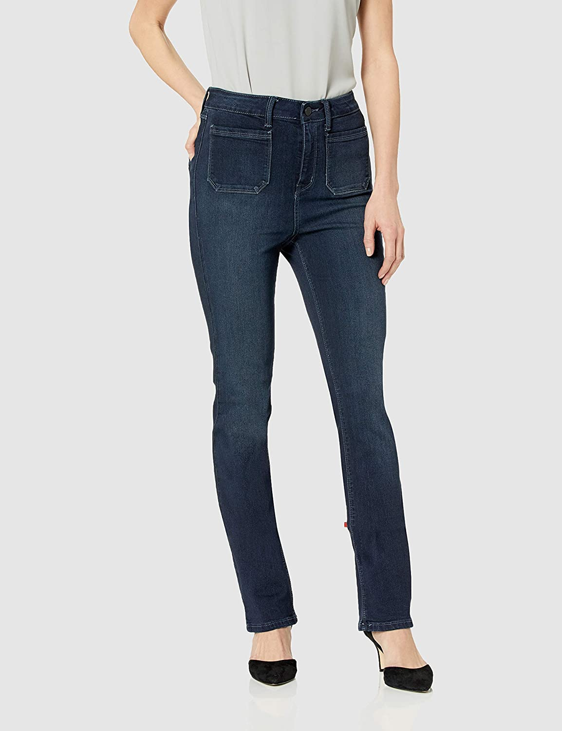 Shaded Dark Laurie Felt Womens Silky Denim High Waisted Patch Pocket Baby Bell Jeans Jeans