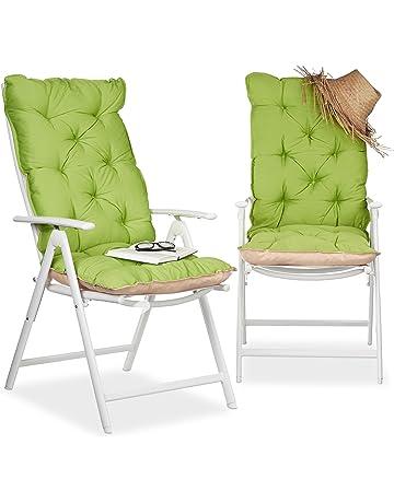 Relaxdays Juego de Cojines para Sillón de Exterior Acolchados, Poliéster y Algodón, 115x47x9 cm