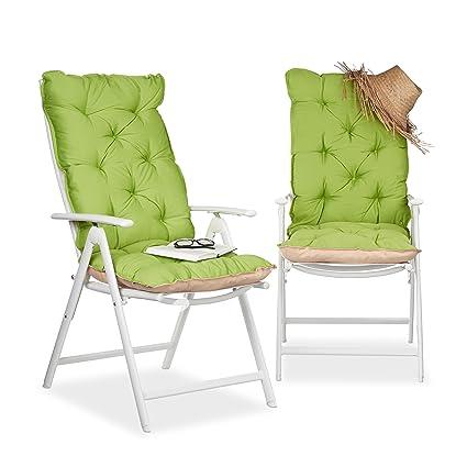 Relaxdays Juego de Cojines para Sillón de Exterior Acolchados, Algodón, Verde, 115x47x9 cm