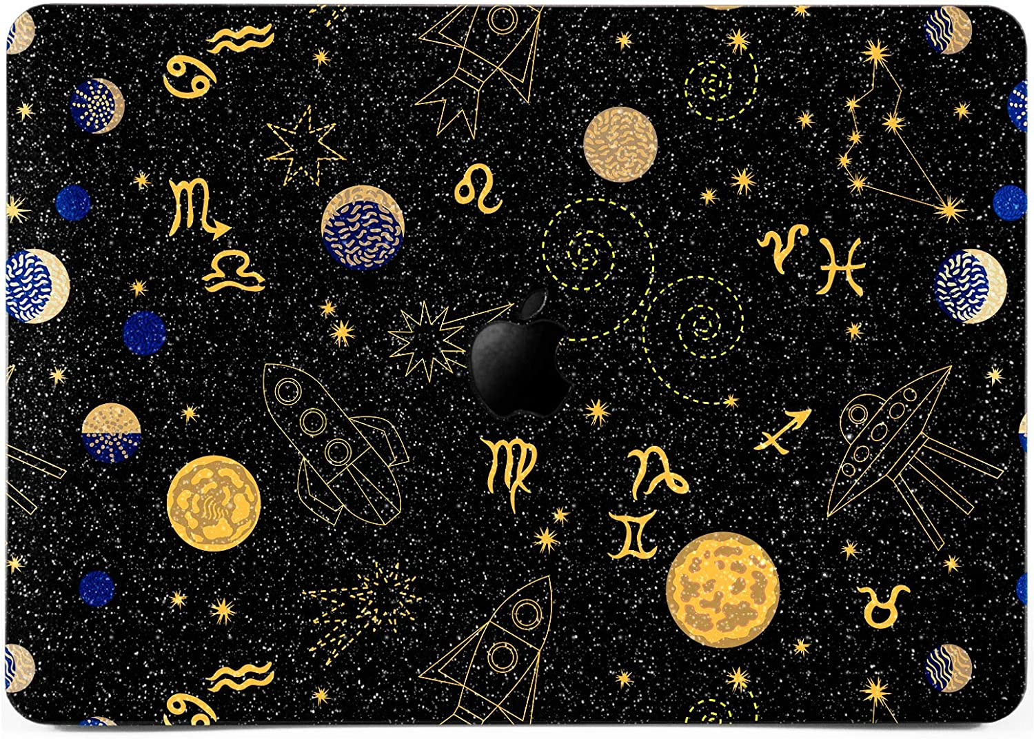 Lex Altern Glitter Case for Apple MacBook Air 13 inch Pro Mac 15 Retina 12 11 2020 2019 2018 2017 Zodiac Astrology Pattern Constellations Moon Bling Design Protective Laptop Cover Shiny Women Black