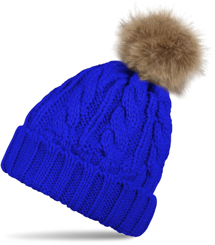 styleBREAKER gefütterte Bommelmütze mit Zopfmuster, Strickmütze mit Fellbommel, Winter Strick Mütze, Damen 04024027 Bommelmütze Winter Mütze Farbe:Royalblau