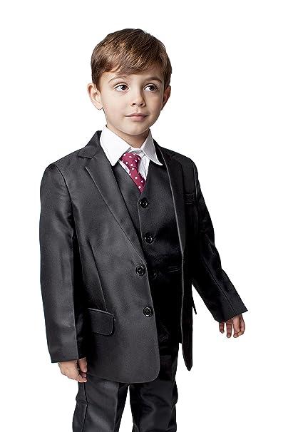 5fdc27c68 Romario niños 5 Piezas Negro clásico Traje de Bodas Page Boy Traje - 3 - 6  M a 14 años  Amazon.es  Ropa y accesorios