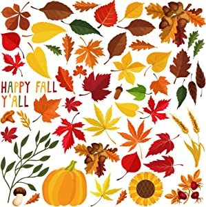 Aneco 134 Pieces Fall Autumn Leaves Window Clings Maple Window Sticker Thanksgiving Autumn Leaves for Thanksgiving Decorations
