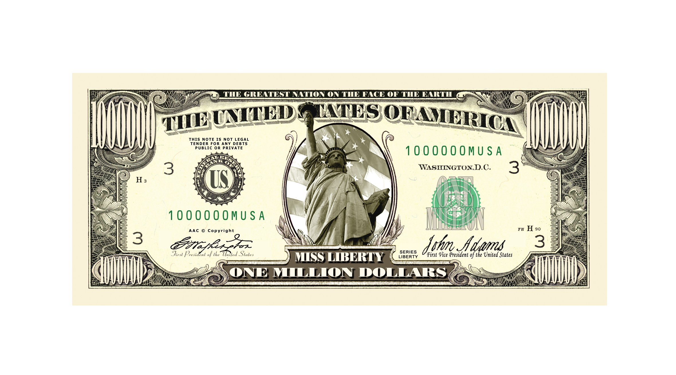 American Art Classics Traditional Million Dollar Bill - Wholesale Pack of 1000 Bills by American Art Classics (Image #2)