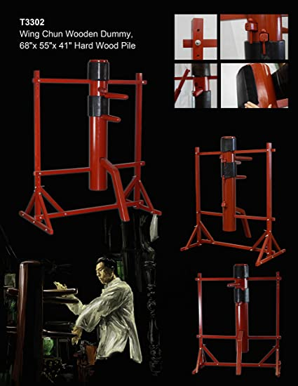 New Adjustable Solid Wood Red Wooden Training Dummy Wing Chun Martial Art