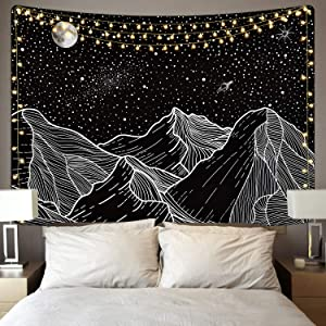 Sevenstars Mountain Tapestry Moon Star Tapestry Starry Night Sky Tapestry Black and White Mountains Tapestry for Room