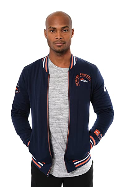 new style 8b689 acd60 ICER Brands NFL Men's Full Zip Fleece Vintage Letterman Varsity Jacket,  Team Color