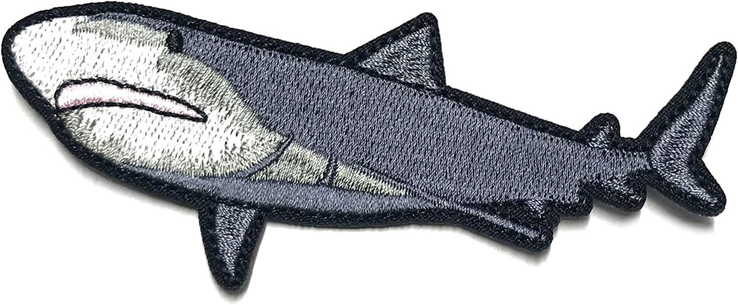 Bull Shark Embroidered Premium Patch DIY Iron-on or Sew-on Decorative Badge Emblem Vacation Souvenir Travel Gear Clothes Appliques Meg Great White Sharks Dolphins Whales Ocean Life Explore Jaws