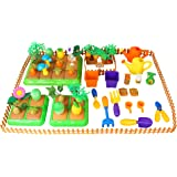 Create-Your-Own Farm Building Playset for Kids with Garden Tools, Crops & Fruits