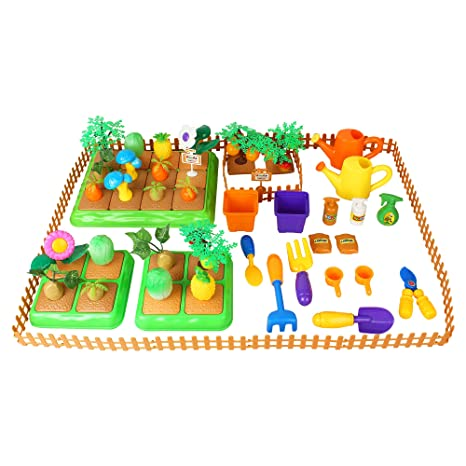 Liberty Imports Create Your Own Farm Building Playset For Kids With Garden  Tools,